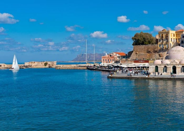 image showing Chania's old town, harbor